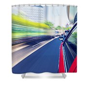 Driving Through The City By Taxi Shower Curtain