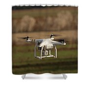 Drone Fly Above The Field Shower Curtain