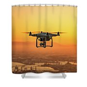 Drone Flying On Sunset Shower Curtain