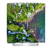 Drone Shot Of Lake 22 Bridge Shower Curtain
