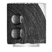 Drops On Steel Black And White Shower Curtain