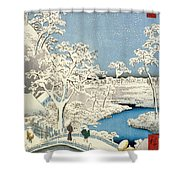 Drum Bridge And Setting Sun Hill At Meguro Shower Curtain by Hiroshige