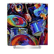 Drums And Friends Shower Curtain by Debra Hurd