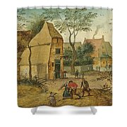 Drunkard Being Taken Home From The Tavern By His Wife Shower Curtain