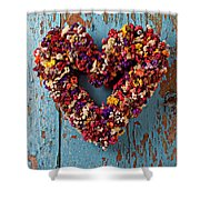 Dry Flower Wreath On Blue Door Shower Curtain