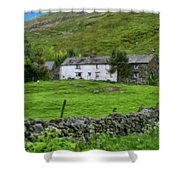Dry Stone Wall And White Cottage - P4a16022 Shower Curtain