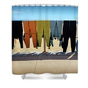 Drying Wet Suits Shower Curtain