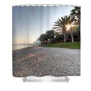 Dubai Beach Sunset Shower Curtain