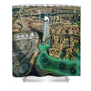 Dubai Downtown Aerial View By Sunset, Dubai, United Arab Emirates Shower Curtain