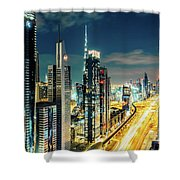 Dubai Downtown Architecture And A Highway.  Shower Curtain