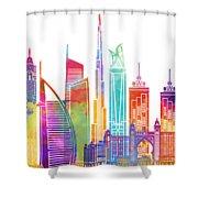 Dubai Landmarks Watercolor Poster Shower Curtain