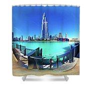 Dubai Burj Khalifa Panorama Shower Curtain