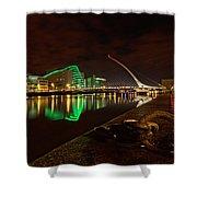 Dublin's Samuel Beckett Bridge At Night Shower Curtain