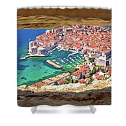 Dubrovnik Historic City And Harbor Aerial View Through Stone Win Shower Curtain