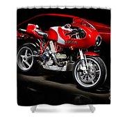 Ducati Mhe And Ferrari Shower Curtain