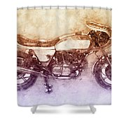 Ducati Supersport 2 - Sports Bike - 1975 - Motorcycle Poster - Automotive Art Shower Curtain