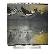 Duck Are Flying On The Sea Side Shower Curtain