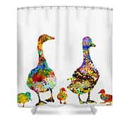 Duck Family-colorful Shower Curtain
