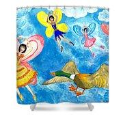 Duck Meets Fairy Ballet Class Shower Curtain