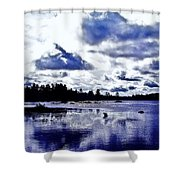 Duck Soars Little Togus Pond Storm Clouds Augusta Shower Curtain