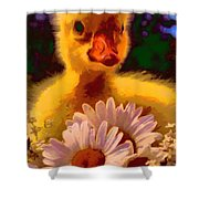 Fuzzy Duckling And Daisies Shower Curtain