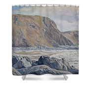 Duckpool Boulders Shower Curtain