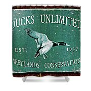 Ducks Unlimited Vintage Sign Shower Curtain