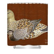 Ducks - Wood Carving Shower Curtain