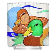 Ducks2017 Shower Curtain by Loretta Nash