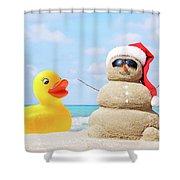 Ducky And Santa At The Beach Shower Curtain