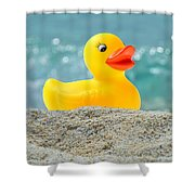 Ducky's Fun Day  At The Beach Shower Curtain