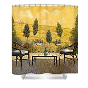 due bicchieri di Chianti Shower Curtain