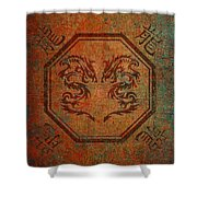 Dueling Dragons In An Octagon Frame With Chinese Dragon Characters Yellow Tint Distressed Shower Curtain
