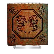 Dueling Dragons In An Octagon Frame With Chinese Dragon Characters Yellow Tint  Shower Curtain