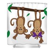 Duffworkscreative_monkeyfunlove_holdinghands Shower Curtain