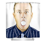 Dumbfounded Man Silenced By A Golf Ball Shower Curtain