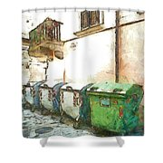 Dumpster Of Garbage Shower Curtain