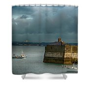 Dun Laoghaire Harbor Lighthouse Shower Curtain