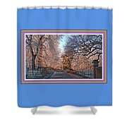 Dundalk Avenue In Winter. L A With Decorative Ornate Printed Frame. Shower Curtain