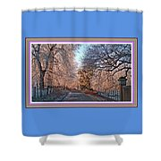 Dundalk Avenue In Winter. L B With Decorative Ornate Printed Frame. Shower Curtain