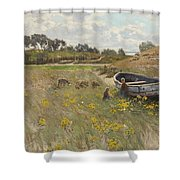 Dune Landscape With Children And Sheep Shower Curtain