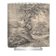 Dune Landscape With Oak Tree Shower Curtain