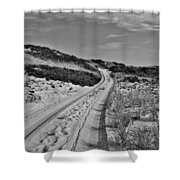 Dune Path In Black And White Shower Curtain