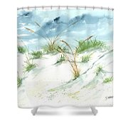 Dunes 3 Seascape Beach Painting Print Shower Curtain