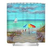 Dunes Beach Colorful Umbrella Shower Curtain