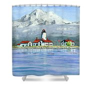 Dungeness Lighthouse With Mount Baker Shower Curtain