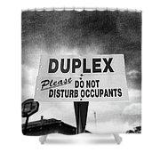 Duplex Yard Sign Stormy Sky In Bw Shower Curtain