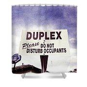 Duplex Yard Sign Stormy Sky Shower Curtain