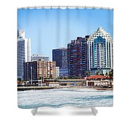 Durban Skyline From Bay Of Plenty Shower Curtain by Jeremy Hayden