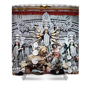 Durga Idol At Puja Pandal Durga Puja Festival Shower Curtain